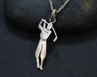Sterling Silver Golfer Necklace, Sterling Golf Jewelry, Sterling Golfer Necklace, Sterling Silver Golf Jewelry, Golf Themed Jewelry