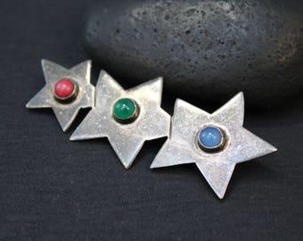 Sterling Silver TAXCO Three Star Gemstone Brooch, Sterling Taxco Pin, Mexico Sterling Silver Star Pin, Sterling Silver Star Brooch