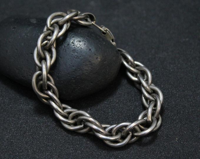 Heavy Sterling Silver NAPIER Link Bracelet, Heavy Link Bracelet, Heavy Cable Link, Sterling Silver Napier Jewelry, Napier Bracelet