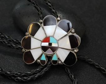 Sterling Silver Native American Zuni Bolo Tie, Old Pawn Sterling Bolo Tie, Sterling Silver Zuni Jewelry, Old Pawn Zuni Bolo Tie