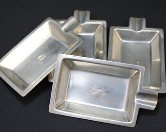Set of 4 Sterling Silver Art Deco Ashtrays, Art Deco Sterling Ashtray, Mid Century Sterling, Mid Century Ashtray, C Monogram Sterling