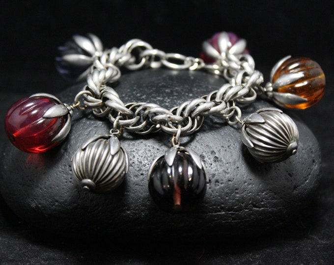 Sterling Silver Twisted Chainmail Bracelet with Multi-Colored & Silver Dangling Beads, Thick Sterling Silver Statement Chain Link Bracelet
