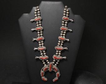 Old Pawn Sterling Navajo Coral Squash Blossom Necklace, Old Pawn Coral Jewelry, Navajo Coral Necklace, Native American Coral