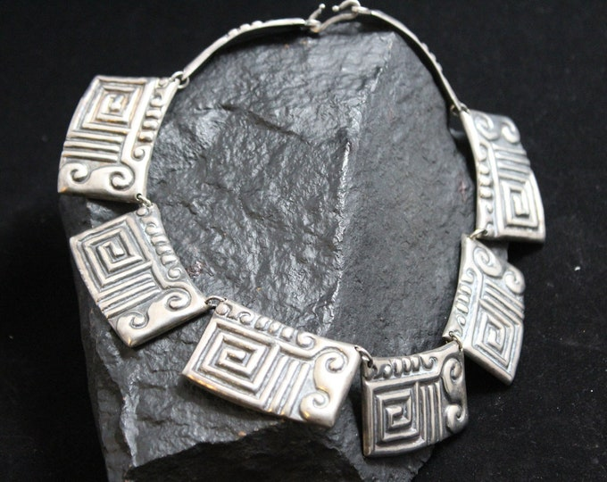 """Ballesteros Taxco Vintage Sterling Silver Statement Necklace, Navajo Native American Sterling Necklace, 14"""" Silver Choker Bib Necklace"""