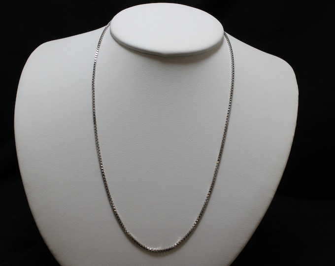 "18"" Sterling Silver Milor Italian Box Link Necklace Chain"