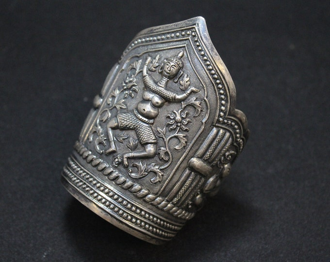 Huge Sterling Silver Chinese Export Buddha Cuff Bracelet, Chinese Sterling Jewelry, Statement Cuff, Big Sterling Silver Cuff Bracelet