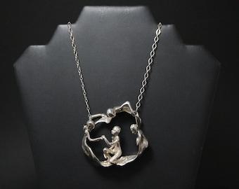 FANTASTIC Sterling Silver Large Brutalist Figure Necklace Signed by Designer, Sterling Brutalist Necklace, Figural Sterling Silver Necklace