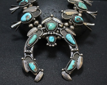 Sterling Silver Native American Turquoise Squash Blossom, Navajo Squash Blossom, Turquoise Necklace, Old Pawn Indian Jewelry