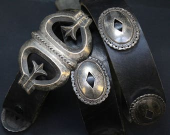 Large Sterling Silver and Leather Concho Belt, Men's Sterling Silver Belt, Western Sterling Belt, Sterling Silver Belt Buckle, Concho Buckle