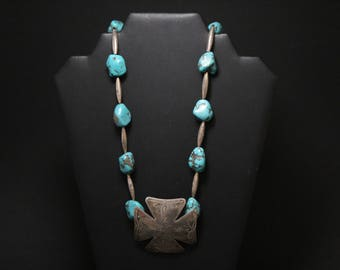 AS IS - Sterling Silver and Turquoise Nugget Beaded Necklace, Southwestern Sterling Necklace, Southwestern Turquoise, Turquoise Cross