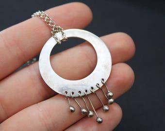 Sterling Silver Circle Dangle Mod Choker on Rolo Chain, Mod Sterling Jewelry, Dangle Pendant, Sterling Silver Open Circle Pendant