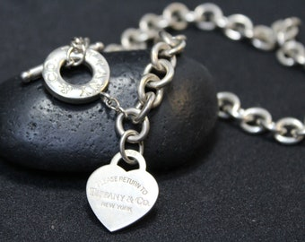 992b3ea1e Authentic Tiffany & Co. Return to Tiffany Tag Necklace, Sterling Silver  Toggle Heart Tag Necklace, Tiffany and Co Sterling Silver Necklace