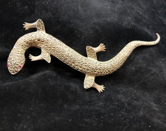 Sterling Silver Large Marcasite Gecko Brooch, Sterling Silver Salamander Pin with Red Ruby Eyes, Sterling Marcasite Lizard Brooch