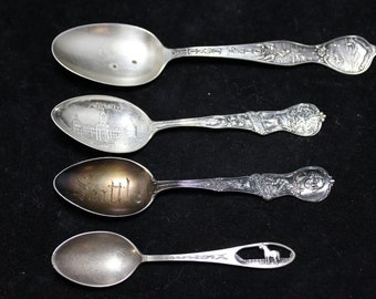 Set of 4 Sterling Silver State Collectible Souvenir Spoons, 4 US State Souvenir Spoons, Kentucky, South Dakota, Texas & Washington State