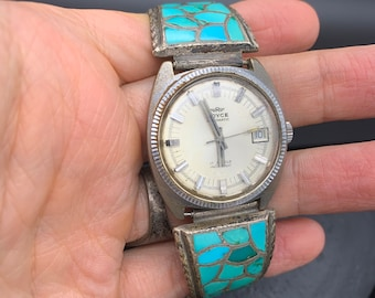 Zuni Turquoise Inlay Sterling Watch Tips, Blue & Green 925 Silver Native American Watch Tips on Vintage Royce Automatic Watch Stretchy Band