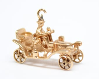 14k Yellow Gold Antique Car Charm with Driver and Moving Wheels