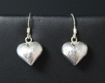 Valentine's Day Sterling Silver Puffy Tooled Heart Dangle Wire Earrings
