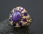 Designer Signed Two Tone Sterling Silver and Amethyst Edwardian Revival Statement Ring