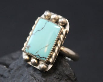 Sterling Silver and Faux Turquoise Native American Southwestern Ring (AS IS)
