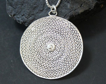 Sterling Silver Intricate Modernist Circle Pendant on 19 and 1/2 inch Sterling Silver Box Chain