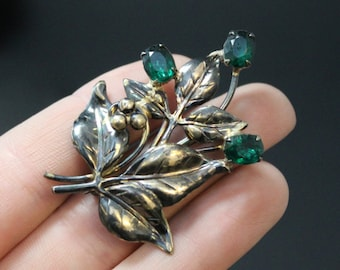 Sterling Silver and 12K Gold Fill Two Tone Green Glass Paste Vintage Leaf and Berry Brooch Pin