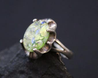 Sterling Simulated Opal Ring, Modernist Silver Ring, Modernist Opal, Opal Jewelry, Synthetic Opal, Art Glass Ring