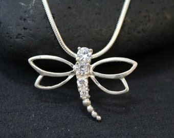 Sterling Silver and CZ Dragonfly Necklace on 18 inch Sterling Silver Snake Chain