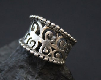 Sterling Silver Filigree Swirl oncave Cigar Band Ring