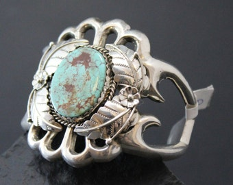 Sterling Silver Naive American Cast Cuff Bracelet Featuring Turquoise Mountain Turquoise by Rose Chee
