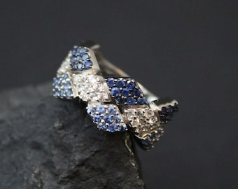 Sterling Blue and White Diamond Pattern Ring, Sterling Pave Ring, Pave Setting, Silver Checkerboard Ring, Trendy Jewelry