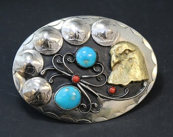 Native American Nickel Silver Belt Buckle with Buffalo Nickles, Turquoise and Coral