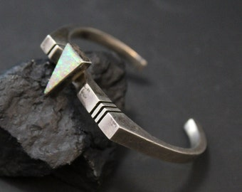 Signed Sterling Silver and Synthetic Opal Modernist Abstract Cuff Bracelet