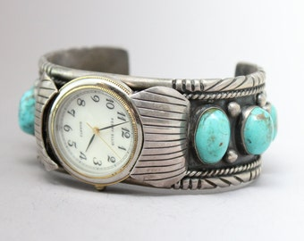 Sterling Silver Signed Ed Kee Native American Navajo Old Pawn Turquoise Watch Cuff Bracelet