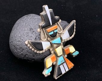 Zuni Inlay Silver Knifewing Pin with Turquoise, Onyx, Spiney Oyster, and Mother of Pearl, Old Pawn Sterling Silver Multistone Mosaic