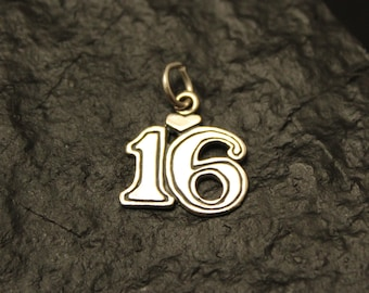 Sterling Silver Number 16 Charm, Pendant, Sweet Sixteen Charm 3/4''