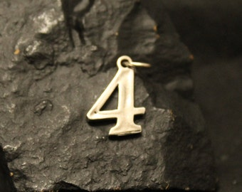 Sterling Silver Number 4 Charm, Lucky Number Four Pendant, 925