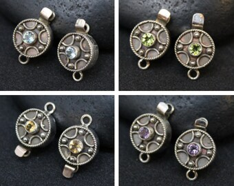 Set of (2) Sterling Silver and Semiprecious Gemstone Clasps, Boho Sterling Clasp, Amethyst Clasp, Citrine Clasp, Peridot Clasp, Topaz Clasp
