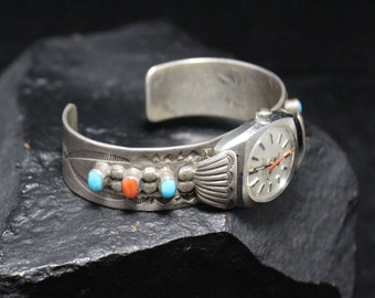 Sterling Silver Turquoise and Coral Watch Band Cuff, Sterling Native American Vintage Watch Band Cuff, Navajo Sterling Watch Band Bracelet