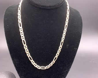 Vintage Figaro Chain Link Sterling Silver Necklace, 925 Italian 7 mm, 20 inches long