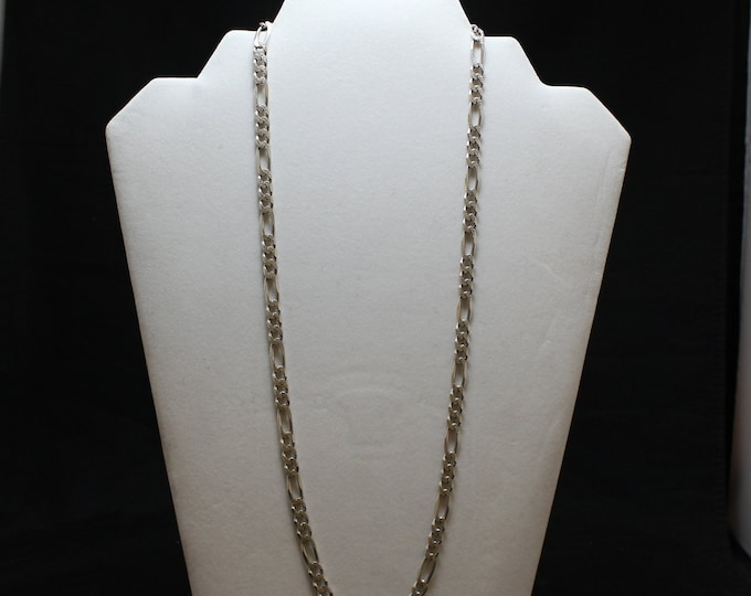 """23.75"""" Sterling Silver Textured Figaro Link Chain, Textured Fiagro Chain, Sterling Silver Textured Chain,"""