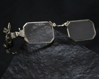 2a624fd1c6eb Antique Sterling Silver Folding Glasses with Marcasite