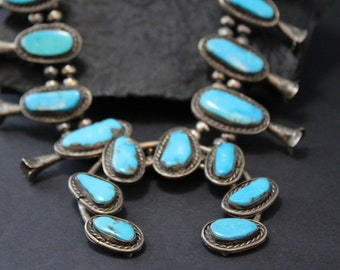 Old Pawn Turquoise Necklace, Sterling Silver Squash Blossom, Native American Jewelry, Large Turquoise Necklace, Southwestern Style