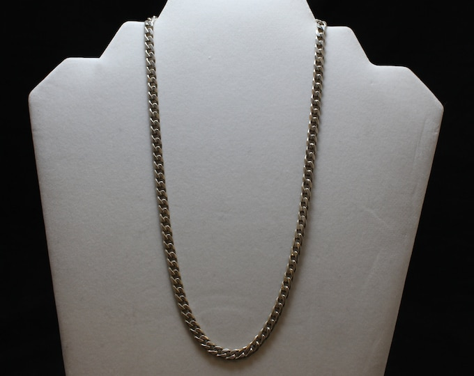"18"" Sterling Silver Curb Link Necklace, 5.3 MM Curb Link Necklace, Sterling Silver Curb Link Chain"