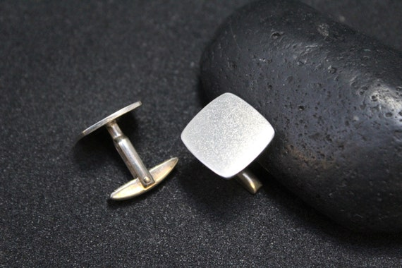 Sterling Silver Modern Square Cuff Links, Simple S