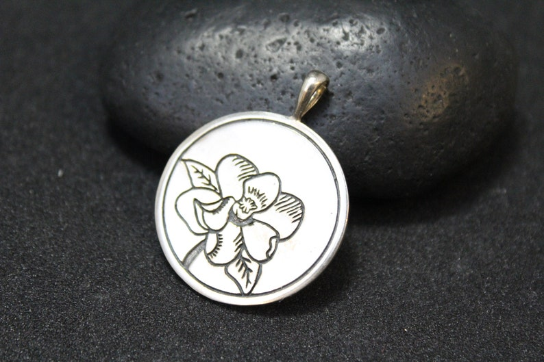 Magnolia Jewelry May Jewelry Sterling Silver Magnolia Round Sterling Medallion Sterling Silver May Birthday Flower Pendant