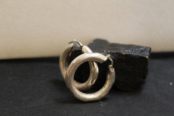 Sterling Silver Textured Modernist Hoop Earrings,