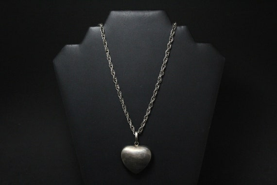Sterling Silver Oxidized Puffy Heart Necklace, Big