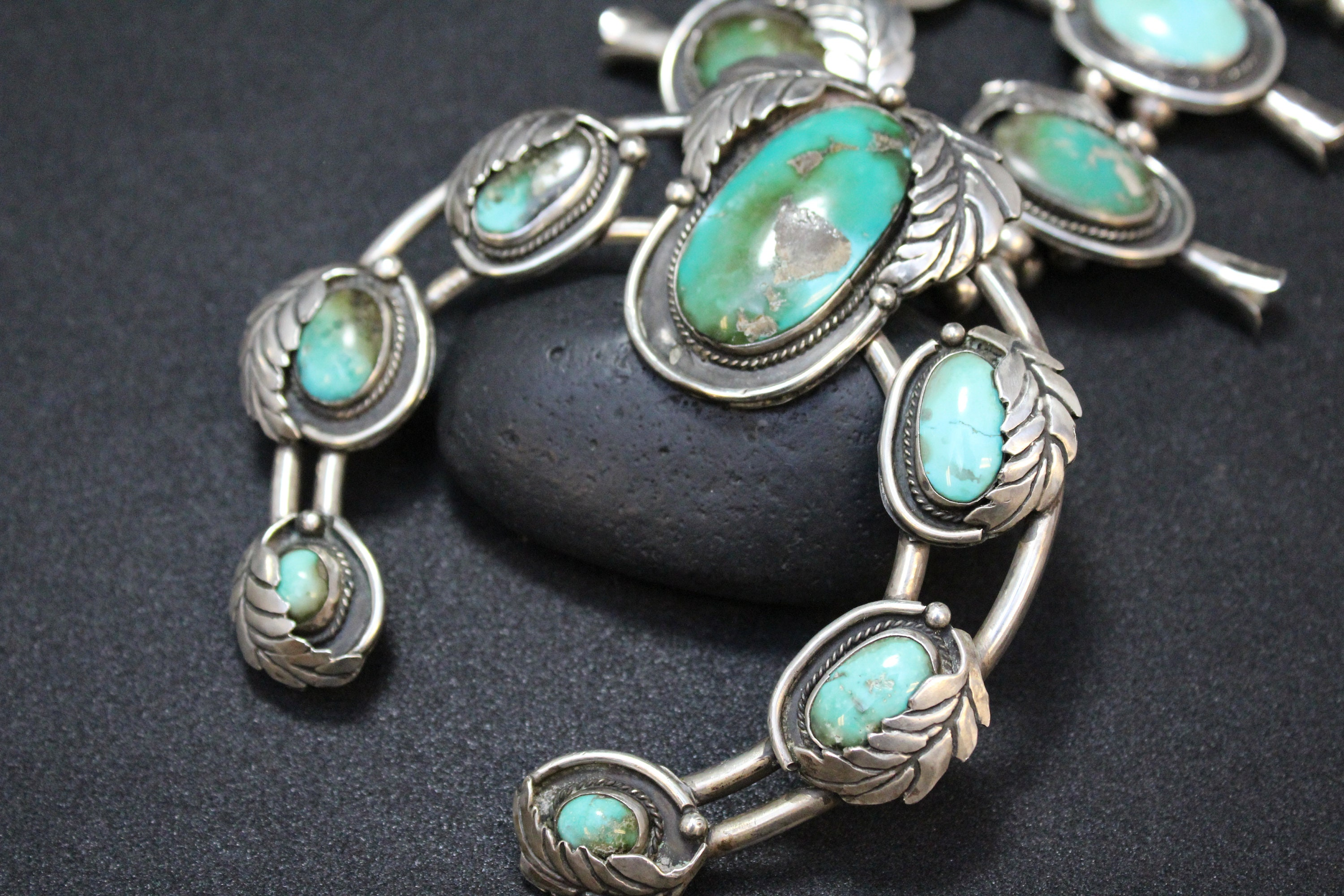 f669cd296 Reserved for Jake D: Large Old Pawn Sterling Silver Turquoise Squash  Blossom Necklace, Turquoise Squash Blossom