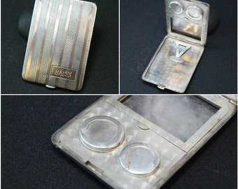 Sterling Silver and 14K Gold Art Deco Striped ELGIN Monogrammed Coin Purse (AS Is)