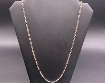 Vintage 925 Sterling Silver Rolo Link Chain Necklace, Long 925 circle link chain necklace